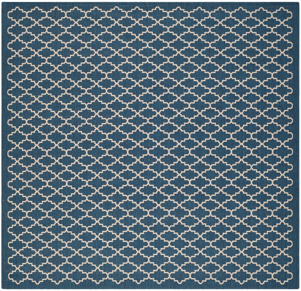 Safavieh Courtyard Jay Navy / Beige 4 ft. x 4 ft. Indoor/Outdoor Square Area Rug