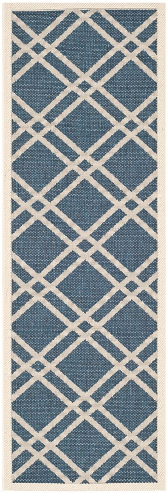 Safavieh Courtyard Levi Navy / Beige 2 ft. 3 inch x 10 ft. Indoor/Outdoor Runner