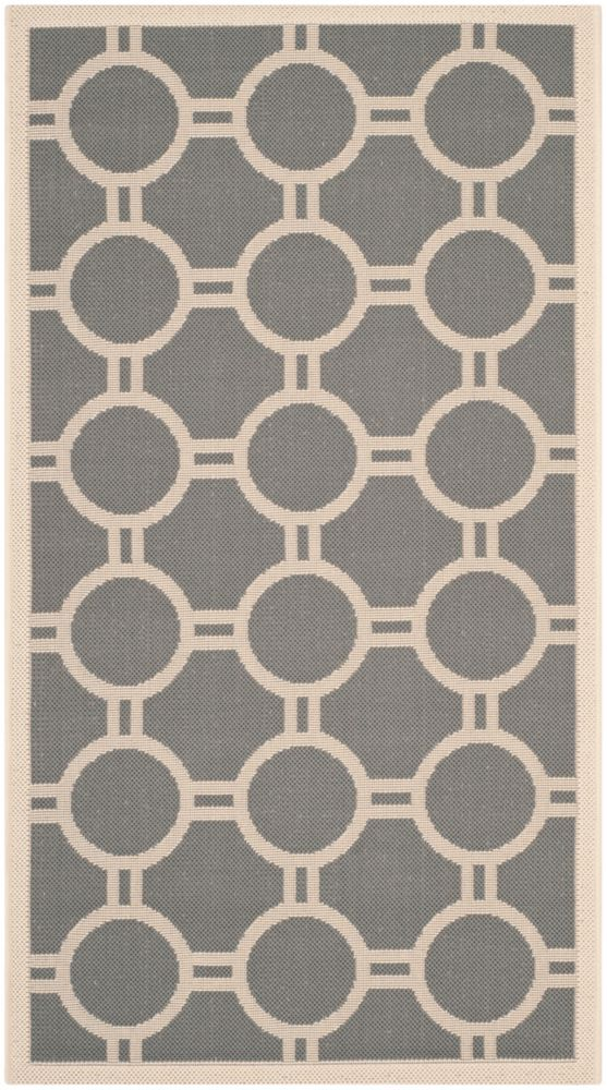 Courtyard Oscar Anthracite / Beige 2 ft. 7 inch x 5 ft. Indoor/Outdoor Area Rug