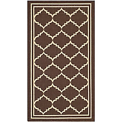 Safavieh Courtyard Jerry Chocolate / Cream 2 ft. x 3 ft. 7 inch Indoor/Outdoor Area Rug