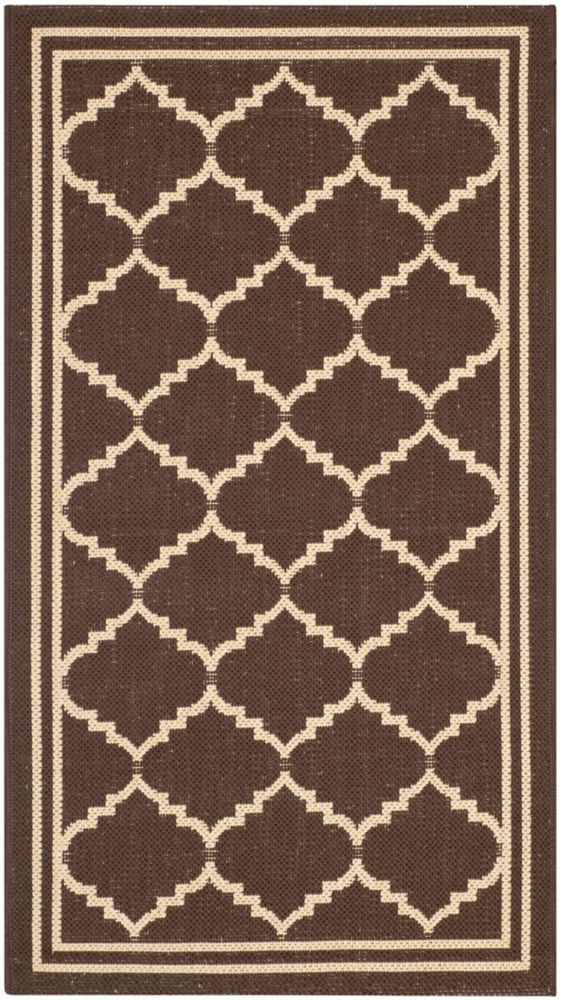 Safavieh Courtyard Jerry Chocolate / Cream 2 ft. 7 inch x 5 ft. Indoor/Outdoor Area Rug