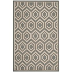 Safavieh Courtyard Larry Anthracite / Beige 5 ft. 3 inch x 7 ft. 7 inch Indoor/Outdoor Area Rug