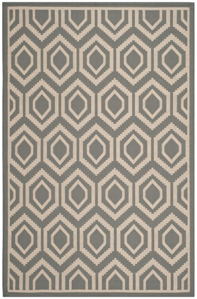 Safavieh Courtyard Larry Anthracite / Beige 6 ft. 7 inch x 9 ft. 6 inch Indoor/Outdoor Area Rug