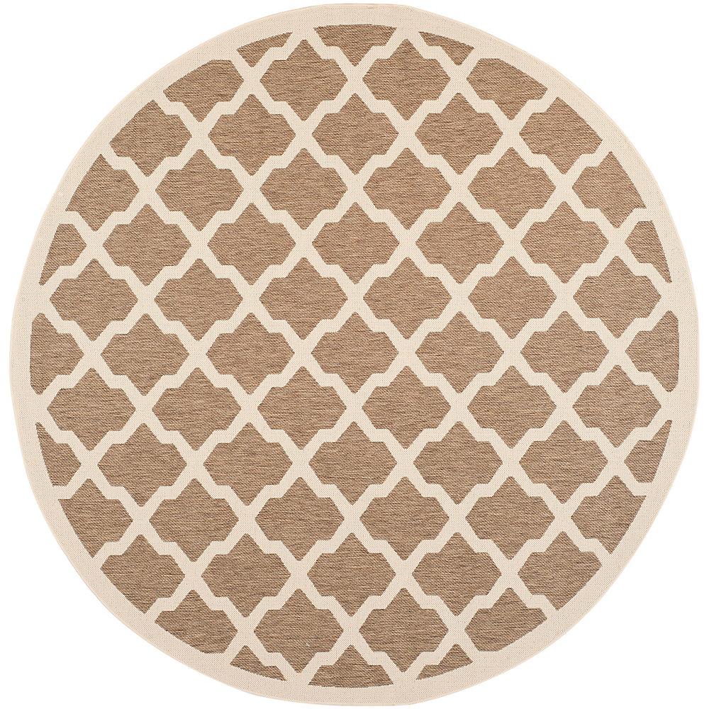 Carpette d'intérieur/extérieur, 7 pi 10 po x 7 pi 10 po, style transitionnel, ronde, havane Courtyard