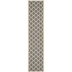 Safavieh Courtyard Kylo Anthracite / Beige 2 ft. 3 inch x 12 ft. Indoor/Outdoor Runner