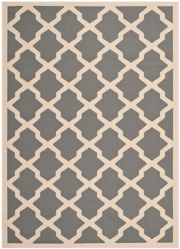 Safavieh Courtyard Kylo Anthracite / Beige 5 ft. 3 inch x 7 ft. 7 inch Indoor/Outdoor Area Rug