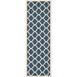 Safavieh Tapis de passage d'intérieur/extérieur, 2 pi 3 po x 10 pi, style transitionnel, bleu Courtyard