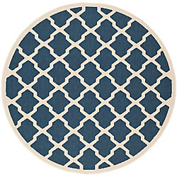 Safavieh Courtyard Kylo Navy / Beige 5 ft. 3 inch x 5 ft. 3 inch Indoor/Outdoor Round Area Rug