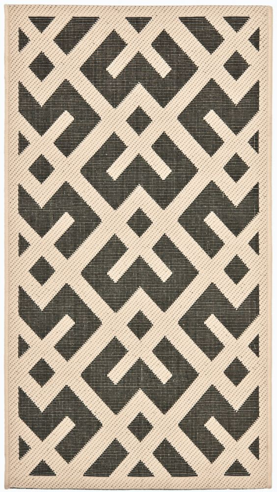 Safavieh Courtyard Leia Black / Beige 2 ft. 7 inch x 5 ft. Indoor/Outdoor Area Rug