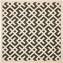 Safavieh Courtyard Leia Black / Beige 5 ft. 3 inch x 5 ft. 3 inch Indoor/Outdoor Square Area Rug