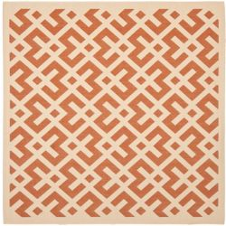 Safavieh Courtyard Leia Terracotta / Bone 6 ft. 7 inch x 6 ft. 7 inch Indoor/Outdoor Square Area Rug