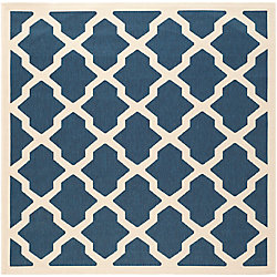 Safavieh Courtyard Kylo Navy / Beige 6 ft. 7 inch x 6 ft. 7 inch Indoor/Outdoor Square Area Rug