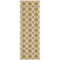Safavieh Courtyard Nick Green / Beige 2 ft. 3 inch x 6 ft. 7 inch Indoor/Outdoor Runner