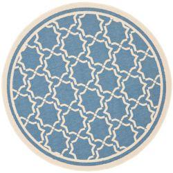 Safavieh Courtyard Jaron Blue / Beige 5 ft. 3 inch x 5 ft. 3 inch Indoor/Outdoor Round Area Rug