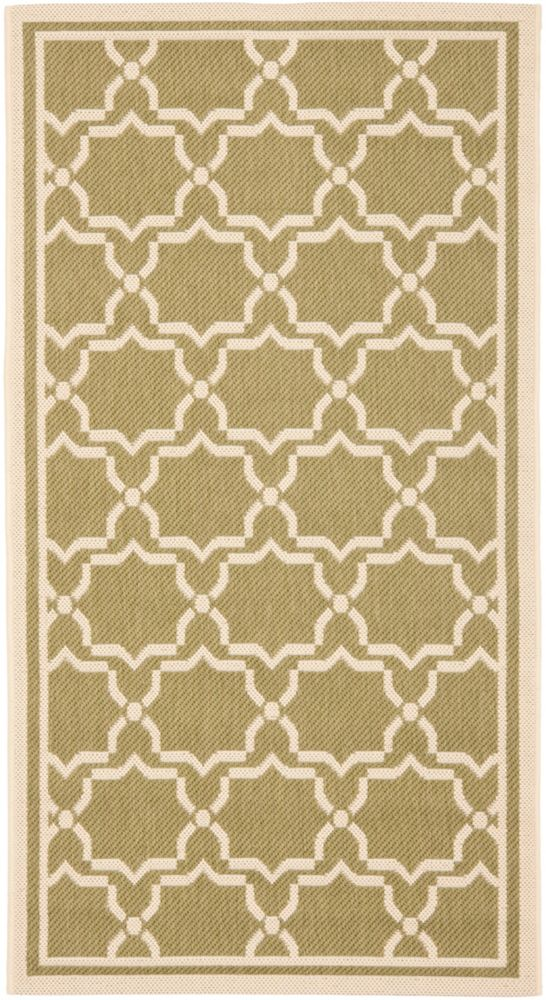Safavieh Courtyard Jaron Green / Beige 2 ft. x 3 ft. 7 inch Indoor/Outdoor Area Rug