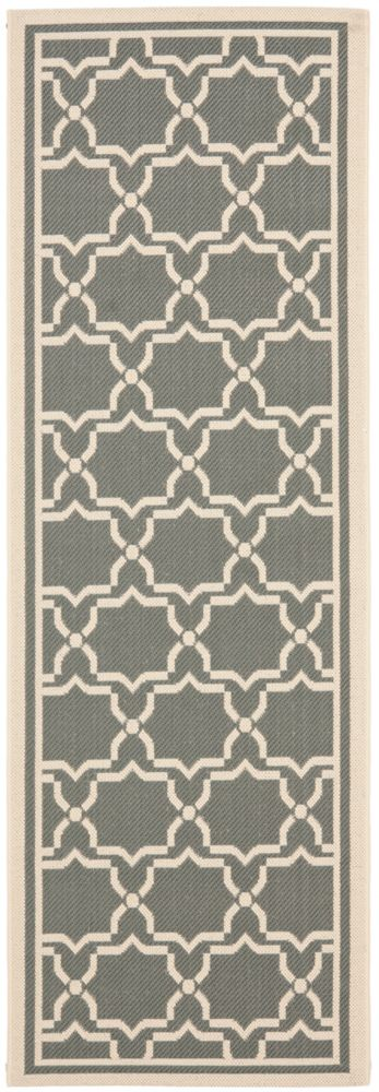 Safavieh Courtyard Jaron Anthracite / Beige 2 ft. 3 inch x 6 ft. 7 inch Indoor/Outdoor Runner