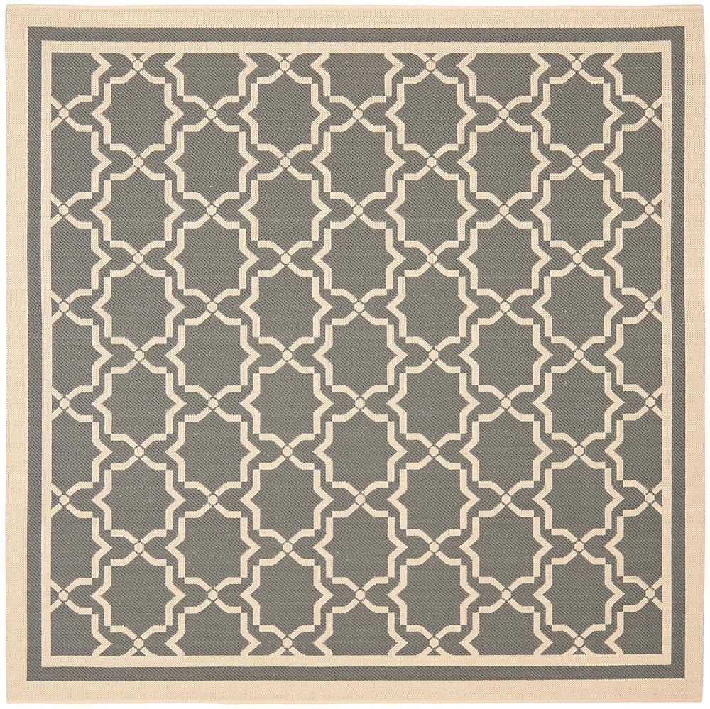 Carpette d'intérieur/extérieur, 6 pi 7 po x 6 pi 7 po, style transitionnel, carrée, gris Courtyard