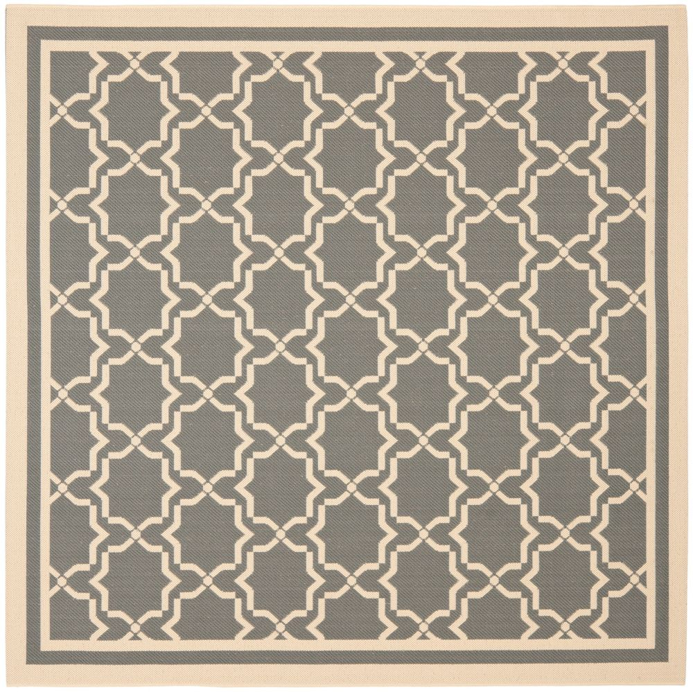 Safavieh Courtyard Jaron Anthracite / Beige 6 ft. 7 inch x 6 ft. 7 inch Indoor/Outdoor Square Area Rug