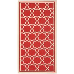Safavieh Courtyard Jaron Red / Bone 4 ft. x 5 ft. 7 inch Indoor/Outdoor Area Rug