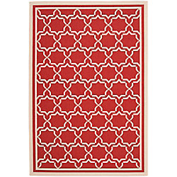 Safavieh Courtyard Jaron Red / Bone 5 ft. 3 inch x 7 ft. 7 inch Indoor/Outdoor Area Rug