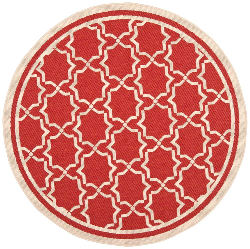 Safavieh Courtyard Jaron Red / Bone 5 ft. 3 inch x 5 ft. 3 inch Indoor/Outdoor Round Area Rug