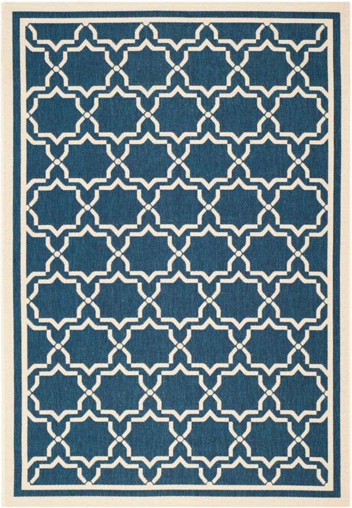 Safavieh Courtyard Jaron Navy / Beige 4 ft. x 5 ft. 7 inch Indoor/Outdoor Area Rug