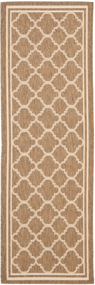 Safavieh Courtyard Sherry Brown / Bone 2 ft. 3 inch x 10 ft. Indoor/Outdoor Runner