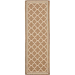 Safavieh Courtyard Sherry Brown / Bone 2 ft. 3 inch x 18 ft. Indoor/Outdoor Runner