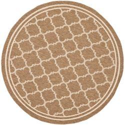 Safavieh Carpette d'intérieur/extérieur, 7 pi 10 po x 7 pi 10 po, style transitionnel, ronde, brun Courtyard