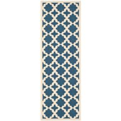 Safavieh Courtyard Nick Navy / Beige 2 ft. 3 inch x 10 ft. Indoor/Outdoor Runner