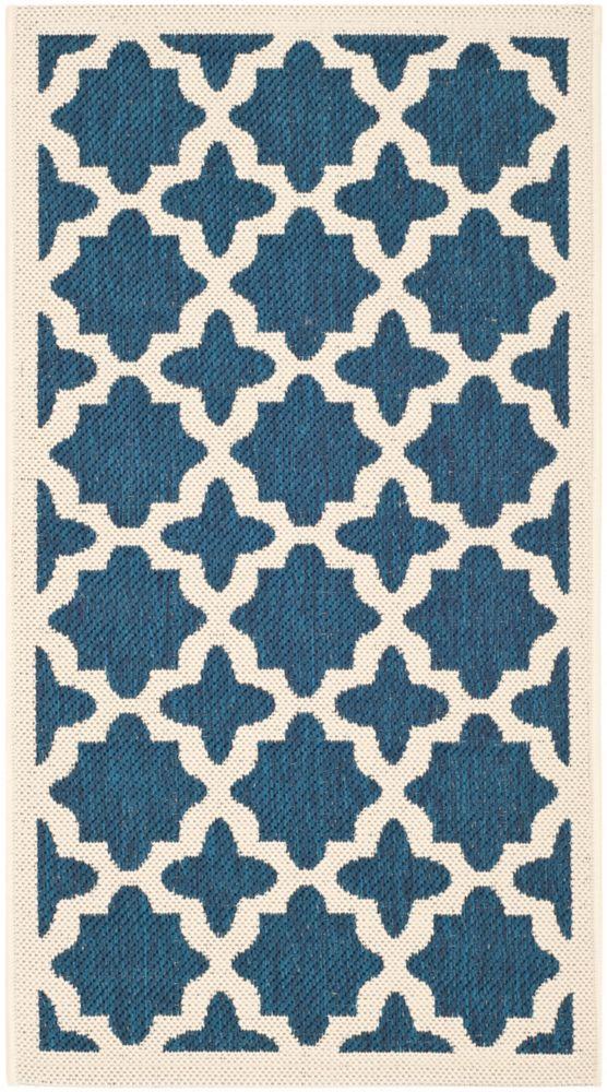 Safavieh Courtyard Blue 2 ft. 7-inch x 5 ft. Indoor/Outdoor Rectangular Area Rug - CY6913-268-3