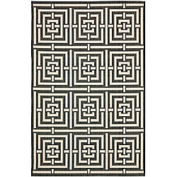 Safavieh Courtyard Paul Black / Ivory 5 ft. 3 inch x 7 ft. 7 inch Indoor/Outdoor Area Rug