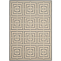 Safavieh Courtyard Paul Grey / Cream 4 ft. x 5 ft. 7 inch Indoor/Outdoor Area Rug