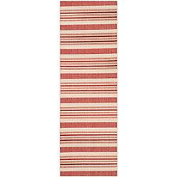 Safavieh Courtyard Gordan Beige / Red 2 ft. 3 inch x 6 ft. 7 inch Indoor/Outdoor Runner