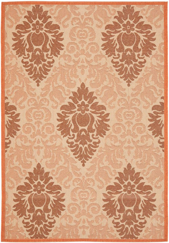 Safavieh Courtyard Gloria Cream / Terracotta 6 ft. 7 inch x 9 ft. 6 inch Indoor/Outdoor Area Rug