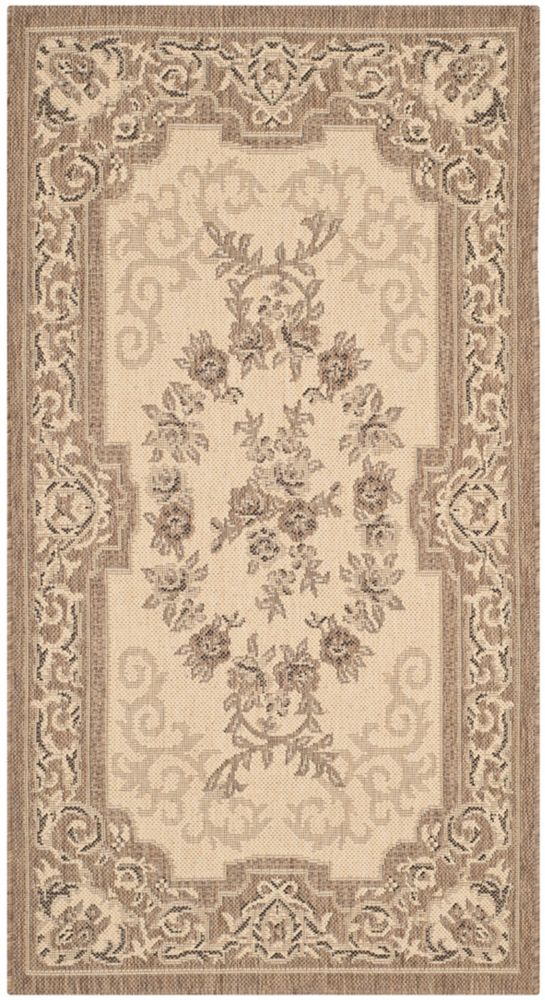 Courtyard Joe Cream / Brown 2 ft. 7 inch x 5 ft. Indoor/Outdoor Area Rug