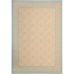 Safavieh Courtyard Hilda Cream / Aqua 5 ft. 3 inch x 7 ft. 7 inch Indoor/Outdoor Area Rug