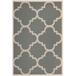 Safavieh Tapis de passage d'intérieur/extérieur, 4 pi x 5 pi 7 po, style transitionnel, rectangulaire, gris Courtyard