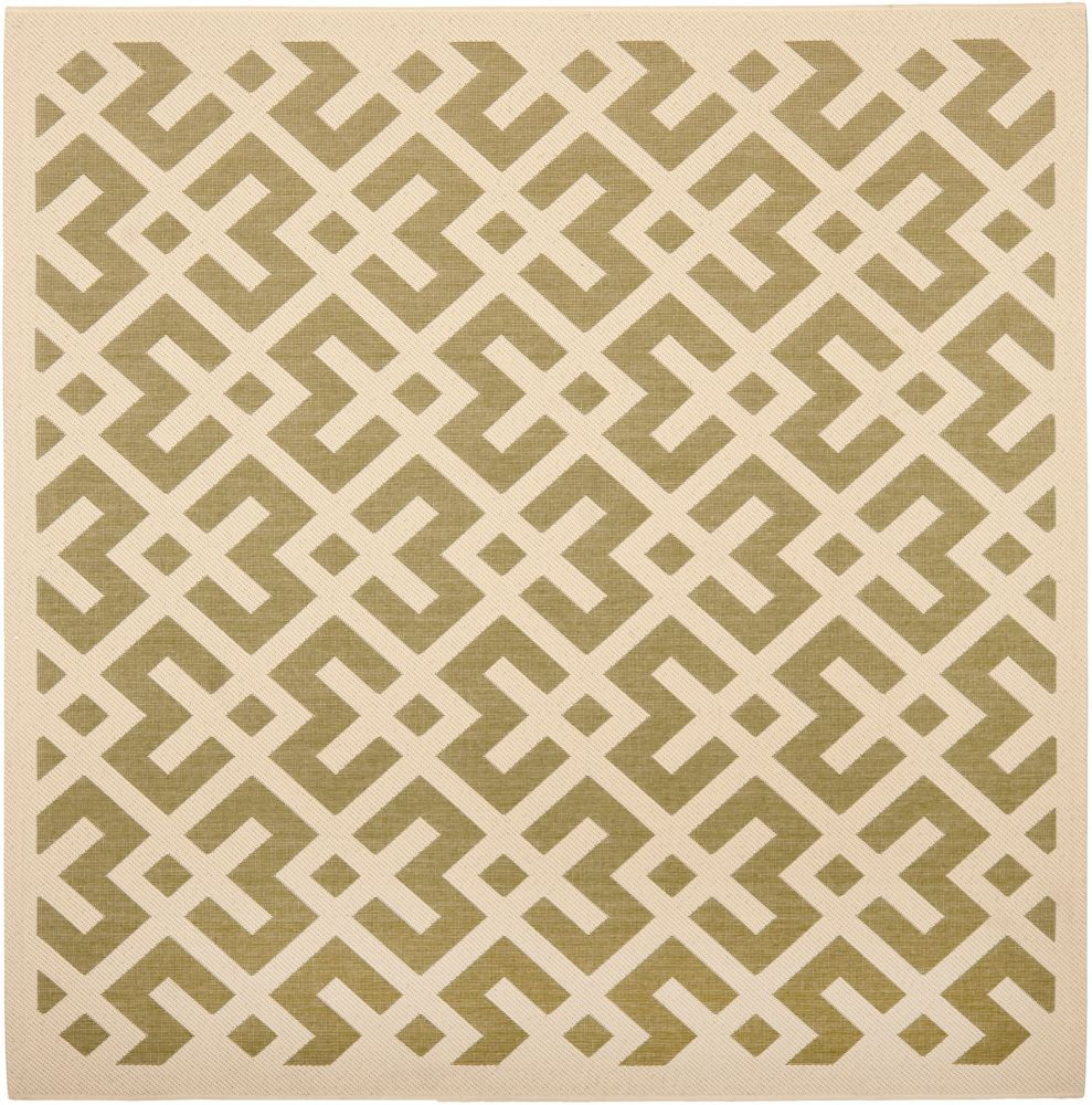 Courtyard Leia Green / Bone 4 ft. x 4 ft. Indoor/Outdoor Square Area Rug