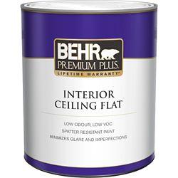Behr Premium Plus Interior Flat Ceiling Paint - Ultra Pure White, 946 mL