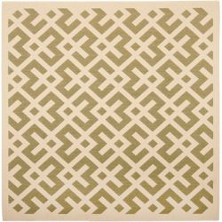 Safavieh Courtyard Leia Green / Bone 5 ft. 3 inch x 5 ft. 3 inch Indoor/Outdoor Square Area Rug