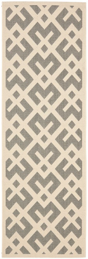 Safavieh Courtyard Leia Grey / Bone 2 ft. 3 inch x 12 ft. Indoor/Outdoor Runner