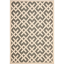 Safavieh Courtyard Leia Grey / Bone 6 ft. 7 inch x 9 ft. 6 inch Indoor/Outdoor Area Rug