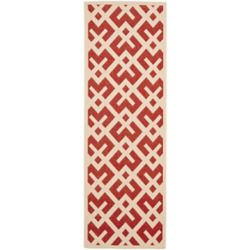 Safavieh Courtyard Leia Red / Bone 2 ft. 3 inch x 6 ft. 7 inch Indoor/Outdoor Runner