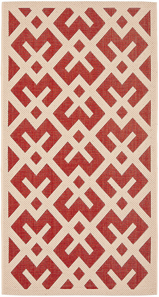 Courtyard Leia Red / Bone 4 ft. x 5 ft. 7 inch Indoor/Outdoor Area Rug