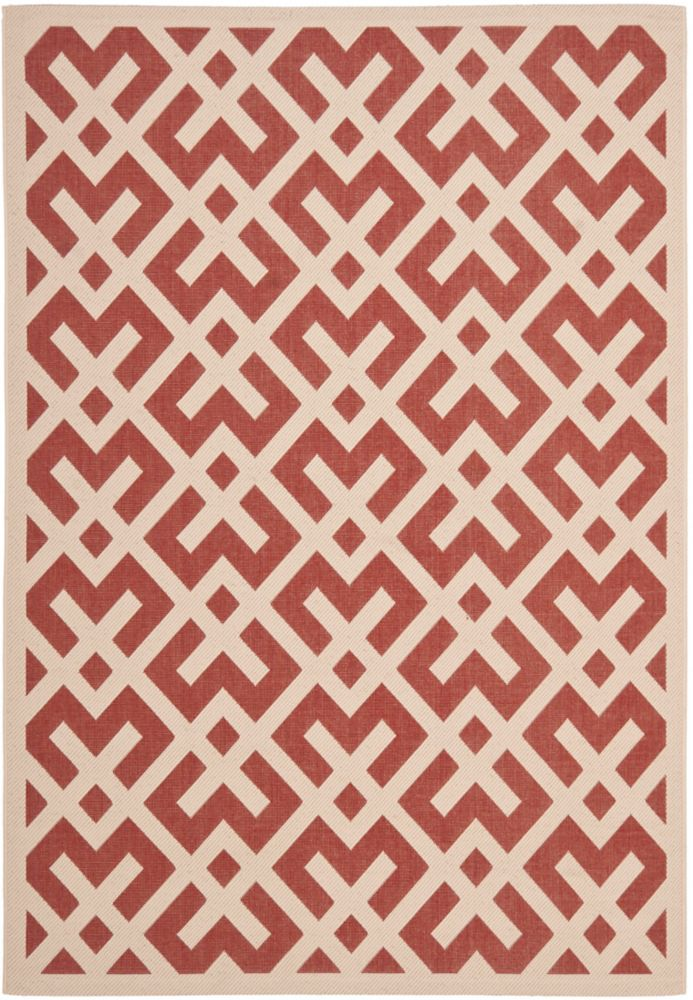 Safavieh Courtyard Leia Red / Bone 5 ft. 3 inch x 7 ft. 7 inch Indoor/Outdoor Area Rug