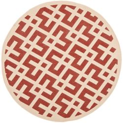 Safavieh Courtyard Leia Red / Bone 6 ft. 7 inch x 6 ft. 7 inch Indoor/Outdoor Round Area Rug