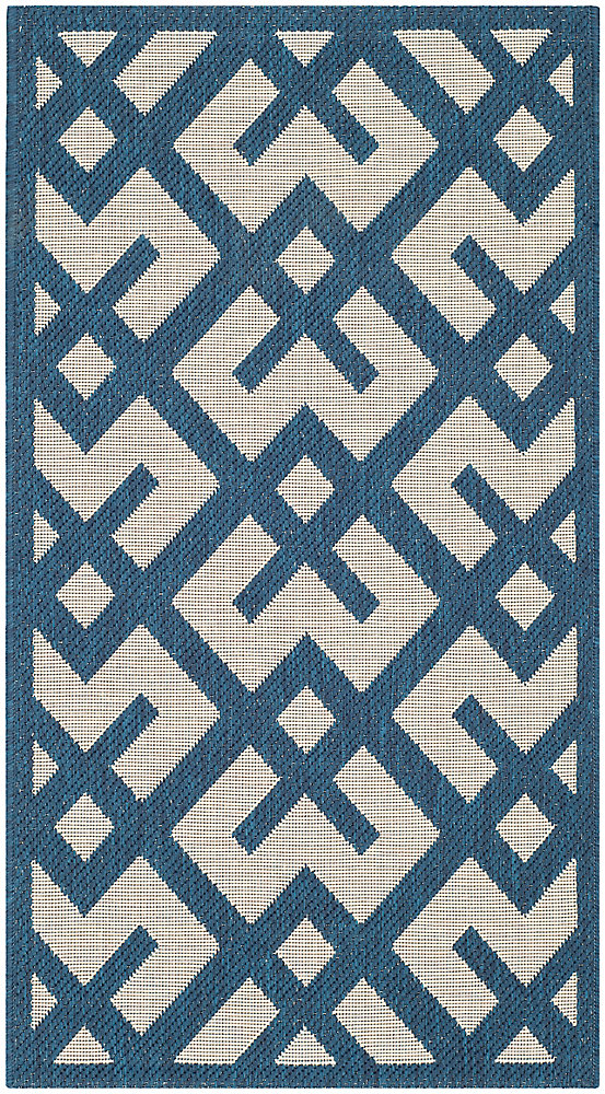 Courtyard Leia Navy / Beige 4 ft. x 5 ft. 7 inch Indoor/Outdoor Area Rug