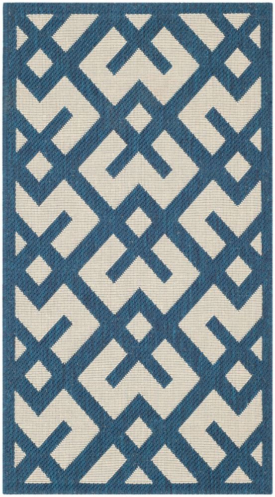 Safavieh Courtyard Leia Navy / Beige 4 ft. x 5 ft. 7 inch Indoor/Outdoor Area Rug