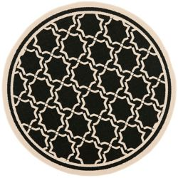 Safavieh Courtyard Jaron Black / Beige 6 ft. 7 inch x 6 ft. 7 inch Indoor/Outdoor Round Area Rug
